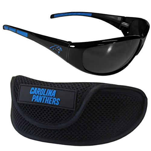 Siskiyou NFL Carolina Panthers Wrap Sunglasses & Sport Case, Black
