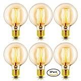 Vintage Edison Light Bulb, Dimmable G80 60W Incandescent Light Bulb, Antique Bulb Home Light Fixtures Squirrel Cage Filament E26 Brass Base Warm White Lamp Bulb, 6 Pack Upidlighting