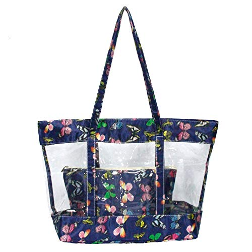 Leefun Women Clear Tote Bags Butterfly Zipper Closure and Shoulder Straps is Great for Work Shop Sport School