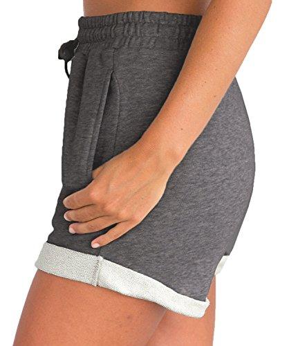 Tengo Women Summer Beach Shorts Juniors Folded Hem Shorts with Drawstring(Darkgrey,M) by Tengo (Image #2)
