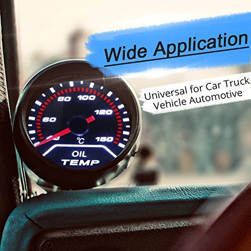 WATERWICH Oil Temp Temperature Gauge Kit Includes Electronic Sensor-Black Dial 40-150 Celsius 2-1//16 52mm DC12V Universal for Car Truck Vehicle Automotive