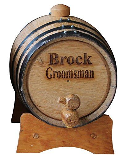 Customized 2 Liter Oak Whiskey or Wine Barrel with 2 Lines of Engraving - Monogrammed Wedding Groomsmen Gift - Personalized for Free by My Personal Memories