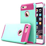 iBarbe iphone 6 Case,iphone 6s Case,2 in 1 Shock-Absorption Bumper Cover Anti-Scratch Rubber Plastic Heavy Duty Protection Slim Hard case for iPhone 6 (4.7''),iPhone 6S (4.7'')(2015) - teal/rose