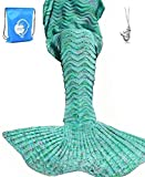 LAGHCAT Mermaid Tail Blanket Knit Crochet Mermaid Blanket for Adult, Oversized Sleeping Blanket, Wave Pattern (75 x 35.5 Inch, Mint Green)