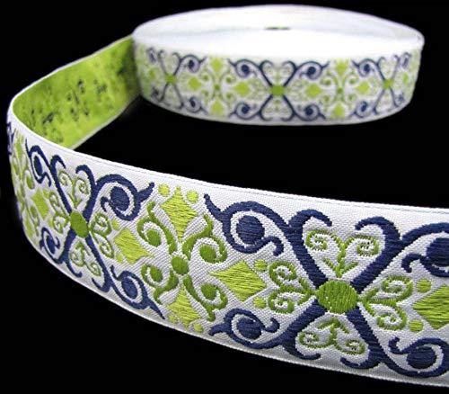 2 Yds Blue Green Ornate Scroll Woven Belt Jacquard Ribbon 1 1/2