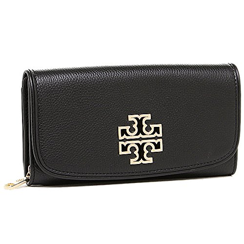 TORY BURCH BRITTEN ZIP CONTINENTAL WALLET CLUTCH BAG Black - Buy Tory Burch
