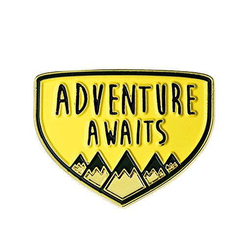 Ms.Clover Adventure Awaits Mountains Enamel Pin Camping Explorer Wanderlust Travel Gifts.