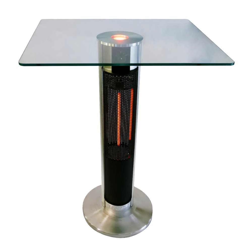 EnerG+ Outdoor Bar Table with Electric Infrared Heater and LED Lights - Silver
