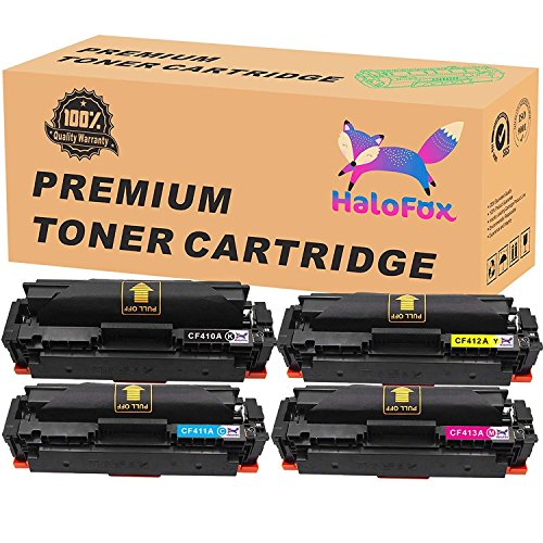 HaloFox 1 Set Toner Cartridges Compatible For 410A Toner CF410A CF411A CF412A CF413A For Color LaserJet Pro M452nw M452dw M452dn MFP M477fdn M477fnw M477fdw Printer (4Pcs, Black Cyan Yellow Magenta)