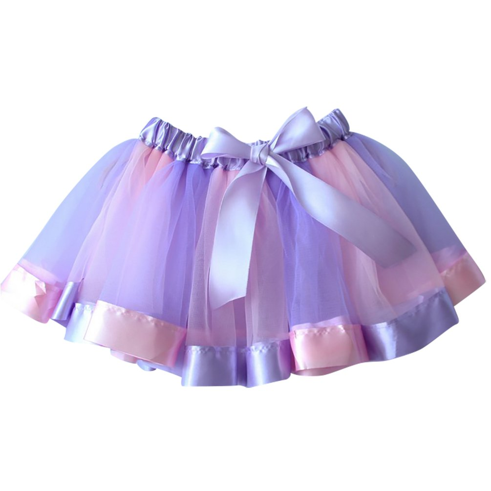 Kids Girls Layered Rainbow Ribbon Tutu Skirt Dance Ruffle Tiered Ballet Dress NiSeng