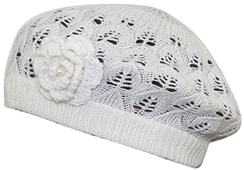 (MINAKOLIFE Women's Super Soft Flower Laciness Knit Beanie Hat (White))