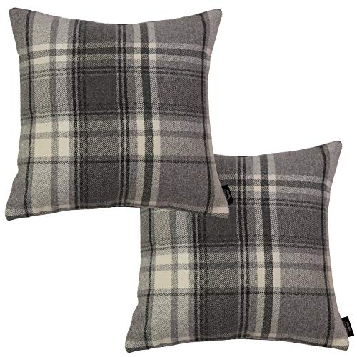 McAlister Textiles Set of 2 Heritage Pillow Cover | Charcoal Grey Tartan Check Elegant Wool Feel Throw Couch Cushion for Bedroom Sofa Living Room Cover | Dimensions - 18 x 18 Inches