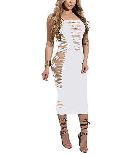YS.DAMAI Women's Criss Cross Side Cut Out Shredded Seductress Lingerie Club Tube Dress