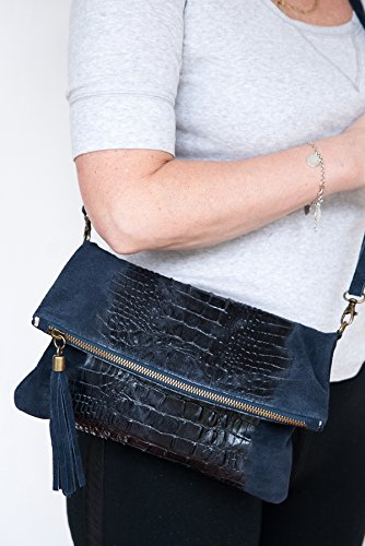 28 2059 Formel Blu 19 by Fashion Clutch Zarolo Mod cm Croco pelle in a Borse spalla 4 BqwIPf6