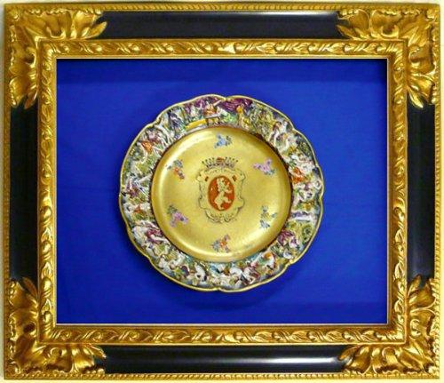 ☆カプティモンティ窯 金彩絵皿◆王家の紋章入り◆額装 B006NES7SE
