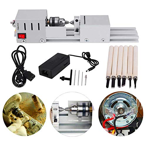 MYSWEETY DC 24V 80W Mini Lathe Beads Polisher Machine CNC Machining for Table Woodworking Wood DIY Tool Lathe Standard Set