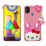 TGK Kitty Mobile Covers, Silicone Back Case Compatible for Samsung Galaxy M31 / M31 Prime / F41 Back Cover (Pink)