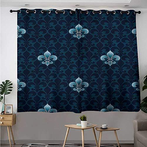 Fleur De Lis Waterproof Window Curtains Antique Royal Pattern Room Darkening Thermal W 55