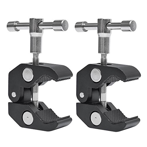Fotoconic Super Clamp Clip with 1/4''-20 and 3/8''-16 Thread for Cameras, Flash Light, Strobe, Umbrellas, Hooks, Shelves, Plate Glass, Crossbar [2-Pack] by fotoconic