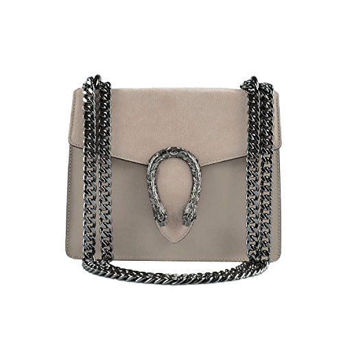 Mini accessory with Light mini in chain clutch metal Italy Made smooth bag leather RONDA Baugette and Taupe suede and Ia8ExU