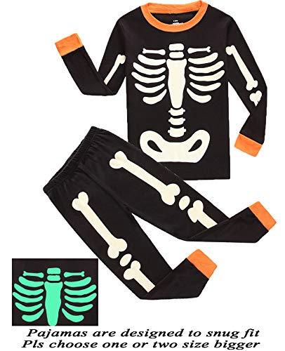 Boys Pajamas Skeleton Glow in The Dark Pajamas Halloween Costumes Sleepwear 4T