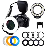 PLOTURE 18 LED Macro Ring Flash Light with LCD Screen Display Power Control 8 Adapter Rings 4 Light Diffuser for Nikon Canon and others Hot Shoes DSLR Camera,Fit 49, 52, 55, 58, 62, 67, 72, 77mm Lense