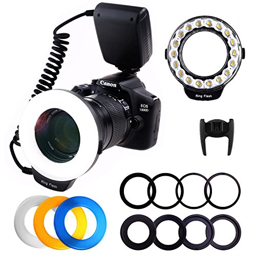 PLOTURE 18 LED Macro Ring Flash Light with LCD Screen Display Power Control 8 Adapter Rings 4 Light Diffuser for Nikon Canon and others Hot Shoes DSLR Camera,Fit 49, 52, 55, 58, 62, 67, 72, 77mm Lense by PLOTURE