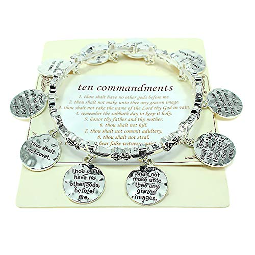Emulily Ten Commandments Cross Stretch Bracelet with Verse Charms