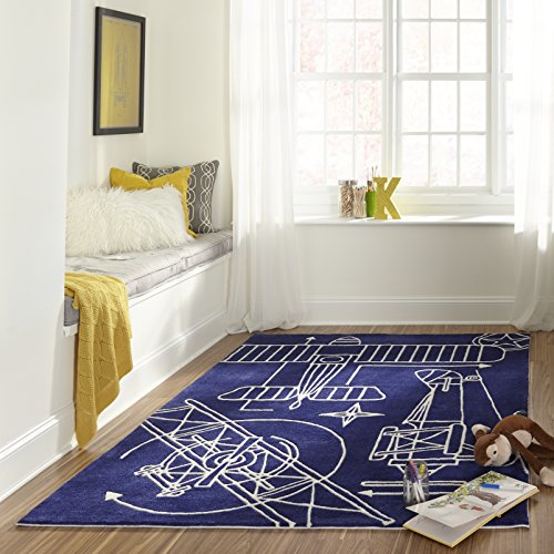 Momeni Rugs LMOTWLMT16NVY500R Lil' Mo Hipster Collection, Kids Themed Hand Carved & Tufted Area Rug, 5' Round, Navy Blue
