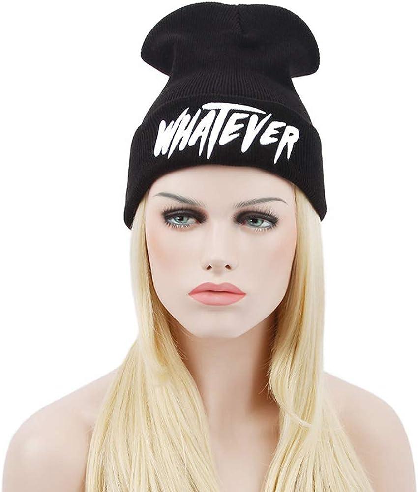 Black Whatever Slouchy Beanie Skull Winter Knit Hat Cap for Men Women: Clothing