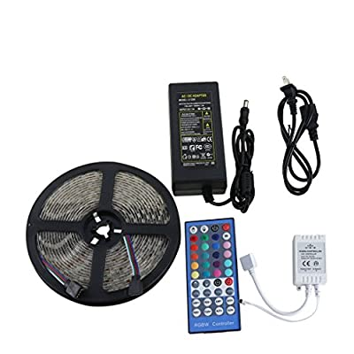 LED Light Strip Kit, Tinkin Light IP67 Waterproof 16.4ft Flexible RGBW SMD 5050 LEDs Lighting Kits with 44 Key Remote and 12V 5A Power Supply for Home Indoor Outdoor Decoration 5M 300 Leds