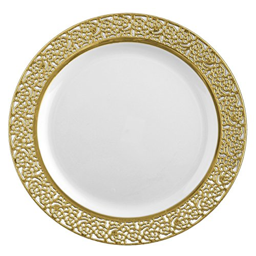 Posh Setting Lace Collection 40 Pack China Look 10.25 Inch White/Gold Plastic Dinner Plates, Fancy Disposable Dinnerware
