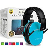 (US) Vanderfields Earmuffs for Kids - Hearing Protection Muffs For Children Small Adults Women - Foldable Design Ear Defenders Protector with Adjustable Padded Headband for Optimal Noise Reduction - Blue