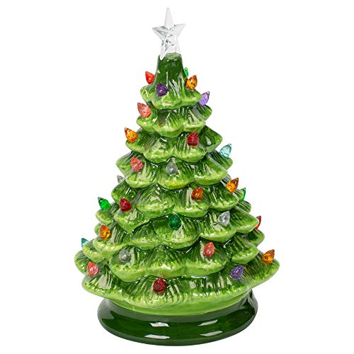Midwest-CBK Lighted LED Tree Festive Green 8 x 5 Ceramic Christmas Holiday Figurine