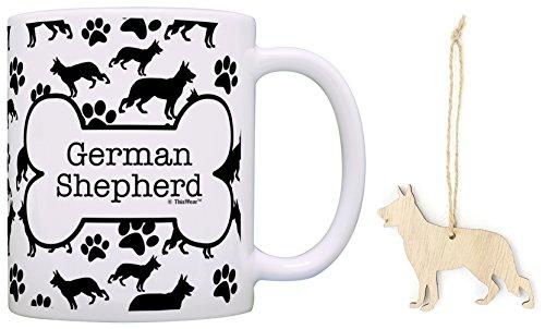 German Shepherd Christmas Ornament & German Shepherd Coffee Mug Tea Cup Bundle Dog Stocking Stuffer
