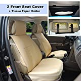 220903 Tan-2 Front Car Seat Cover Cushions Leather Like Vinyl + Sun Visor Tissue Paper Holder Clip, Compatible to HYUNDAI ACCENT SONATA HYBRID SONATA PLUG-IN TUCSON FUEL CELL 2018 2017-2007
