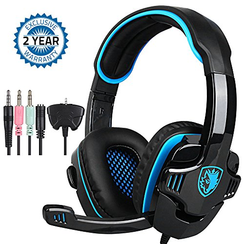 Game Headphone Gaming Headset Noise Cancelling Over Ear Headphone SADES SA-708GT 3.5mm Stereo Sound Music with Mic Volume Control Gamer Headphone for PS4 XBOX 360 Tablet PC Mobile Phones