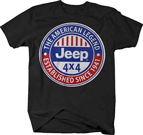 Jeep American Legend Since 1941 Red White Blue Retro Tshirt - -