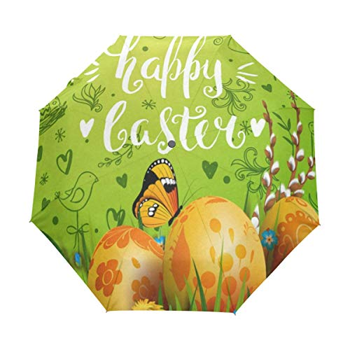 Full Automatic Umbrella Happy Easter Rabbit Floral Flowers Eggs Self Opening Folding UV Protection Windproof