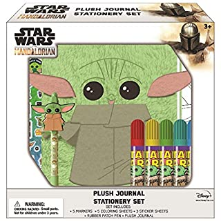 Innovative Designs Star Wars Baby Yoda Mandalorian Plush Yoda Journal Set with Coloring Sheets, Pen, & Stickers