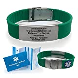 Green Silicone Sport Medical Alert ID Bracelet (Incl. 5 Lines of Custom Engraving). Choose Your Color! -