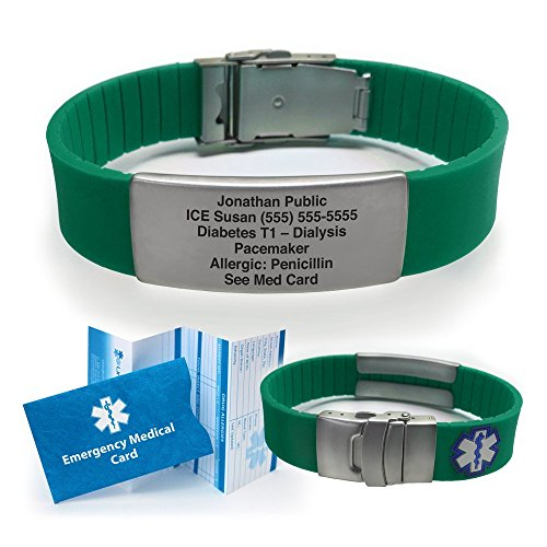 Green Silicone Sport Medical Alert ID Bracelet (Incl. 5 lines of custom engraving). Choose Your Color! ()