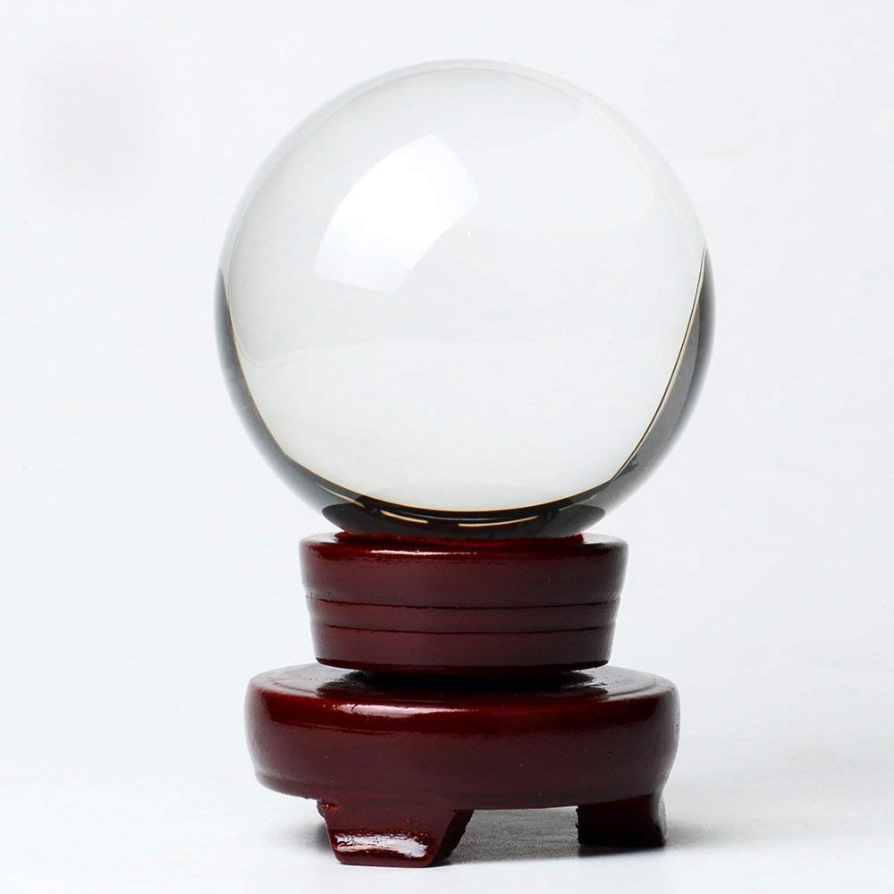 MerryNine Clear Crystal Ball Asian Rare Magic Healing Sphere 100mm Stand