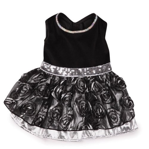 8-Inch East Side Collection Polyester Glam Dog Dress, XX-Small, 8-Inch, Silver