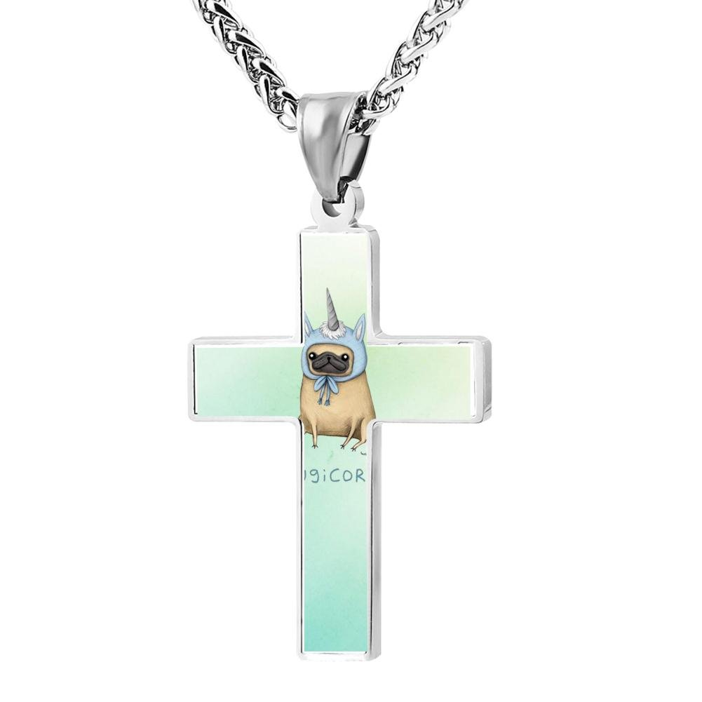 HRYU-1702 Cool Cute pug with unicorn style 1 Christian Cross Necklace Religious Jewelry Pendant