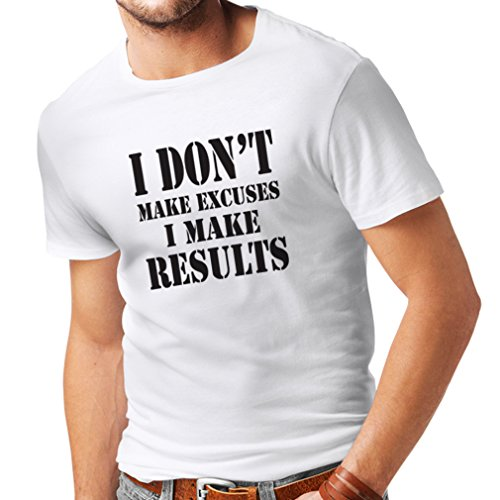 T Shirts For Men I Make Results - Lose Weight Fast Quotes and Muscle Builder Motivational Sayings (XXX-Large White Black)