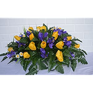 3111 Beautiful Spring Cemetery Arrangement, Headstone saddle, Grave, Tombstone arrangement, Cemetery flowers 17
