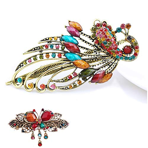 eKoi - Korean Palace Tradition Collection - Retro Vintage Color Rhinestone Hair Pieces Stick Barrette Alligator Clip Snap Ornament Pin Accessory Band for Women Girl (Peacock Duckbill + French Clip) ()