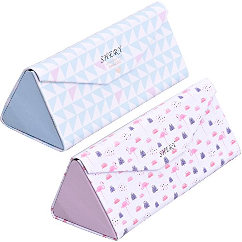 Eyeglasses Pouch 2PACK foldable Sunglasses bag Triangular shape spectacle pouch with Cleaning Cloth (Triangle Glasses Case)