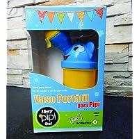 Vaso Portátil para la Pipí, ¡SAY PIPI GO! para NIÑO, Práctico Orinal para Viajes (Amarillo con Azul)